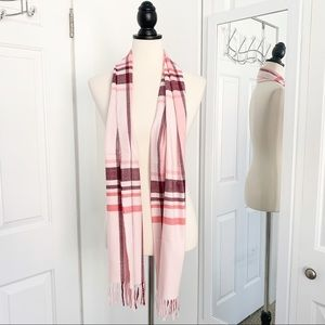 NWOT Italy Design Cashmere Feel Pink Plaid Scarf